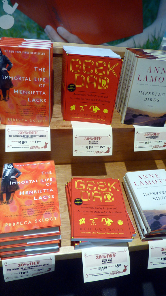 My book at Powell's, picture by Cory Doctorow, used under CC License (hope I did that right)